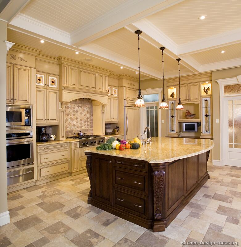 Luxury Kitchen Design With High Coffered Ceilings, Antique