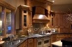Permalink to Rustic Kitchen Design With Pro Viking Range, Large Wood Hood, And