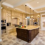 Luxury Kitchen Design With High Coffered Ceilings, Antique White